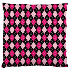 Argyle Pattern Pink Black Large Flano Cushion Case (Two Sides)