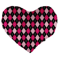 Argyle Pattern Pink Black Large 19  Premium Flano Heart Shape Cushions