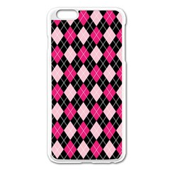 Argyle Pattern Pink Black Apple iPhone 6 Plus/6S Plus Enamel White Case