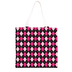 Argyle Pattern Pink Black Grocery Light Tote Bag
