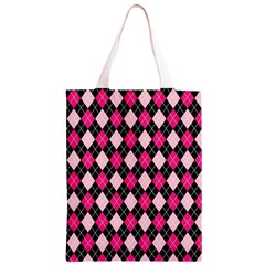 Argyle Pattern Pink Black Classic Light Tote Bag
