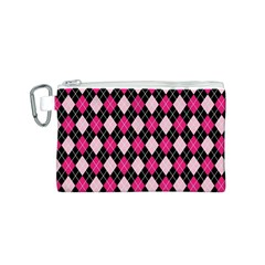 Argyle Pattern Pink Black Canvas Cosmetic Bag (S)