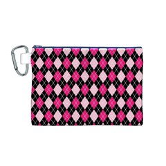 Argyle Pattern Pink Black Canvas Cosmetic Bag (M)