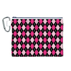 Argyle Pattern Pink Black Canvas Cosmetic Bag (L)