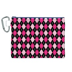 Argyle Pattern Pink Black Canvas Cosmetic Bag (XL)