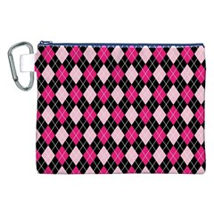 Argyle Pattern Pink Black Canvas Cosmetic Bag (XXL)