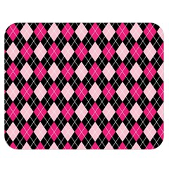 Argyle Pattern Pink Black Double Sided Flano Blanket (Medium)