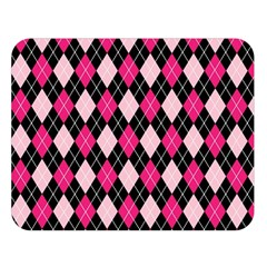 Argyle Pattern Pink Black Double Sided Flano Blanket (Large)