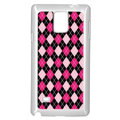 Argyle Pattern Pink Black Samsung Galaxy Note 4 Case (White)