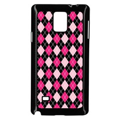 Argyle Pattern Pink Black Samsung Galaxy Note 4 Case (Black)