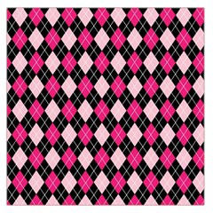 Argyle Pattern Pink Black Large Satin Scarf (Square)