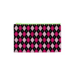 Argyle Pattern Pink Black Cosmetic Bag (XS)