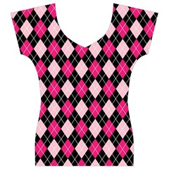 Argyle Pattern Pink Black Women s V-Neck Cap Sleeve Top