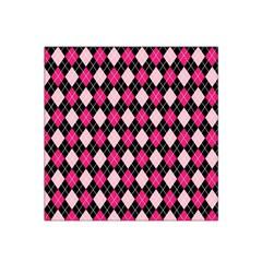 Argyle Pattern Pink Black Satin Bandana Scarf