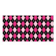 Argyle Pattern Pink Black Satin Shawl
