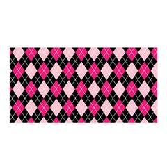 Argyle Pattern Pink Black Satin Wrap
