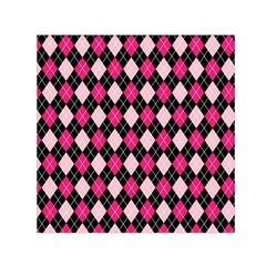 Argyle Pattern Pink Black Small Satin Scarf (Square)