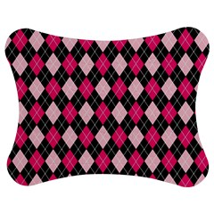 Argyle Pattern Pink Black Jigsaw Puzzle Photo Stand (Bow)