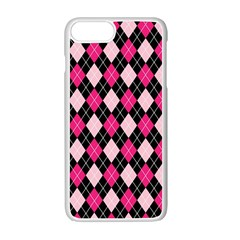 Argyle Pattern Pink Black Apple iPhone 7 Plus White Seamless Case