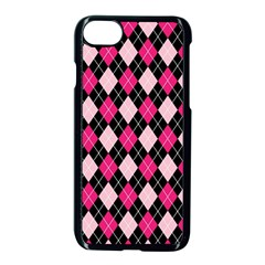 Argyle Pattern Pink Black Apple iPhone 7 Seamless Case (Black)