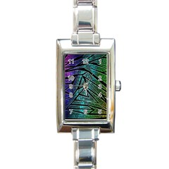Abstract Background Rainbow Metal Rectangle Italian Charm Watch