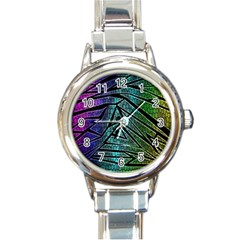Abstract Background Rainbow Metal Round Italian Charm Watch