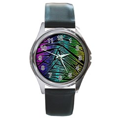 Abstract Background Rainbow Metal Round Metal Watch