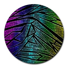 Abstract Background Rainbow Metal Round Mousepads