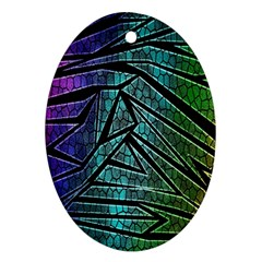 Abstract Background Rainbow Metal Ornament (Oval)