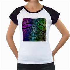 Abstract Background Rainbow Metal Women s Cap Sleeve T