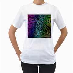Abstract Background Rainbow Metal Women s T-Shirt (White) (Two Sided)