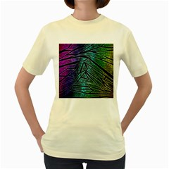 Abstract Background Rainbow Metal Women s Yellow T-Shirt