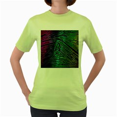 Abstract Background Rainbow Metal Women s Green T-Shirt