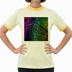 Abstract Background Rainbow Metal Women s Fitted Ringer T-Shirts