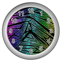 Abstract Background Rainbow Metal Wall Clocks (Silver)
