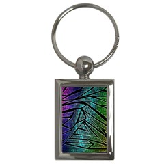 Abstract Background Rainbow Metal Key Chains (Rectangle)