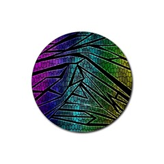Abstract Background Rainbow Metal Rubber Round Coaster (4 pack)