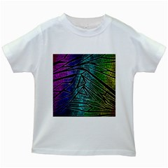 Abstract Background Rainbow Metal Kids White T-Shirts