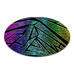 Abstract Background Rainbow Metal Oval Magnet