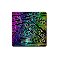 Abstract Background Rainbow Metal Square Magnet