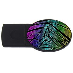 Abstract Background Rainbow Metal USB Flash Drive Oval (2 GB)