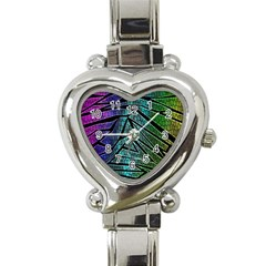 Abstract Background Rainbow Metal Heart Italian Charm Watch