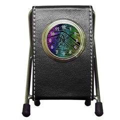 Abstract Background Rainbow Metal Pen Holder Desk Clocks