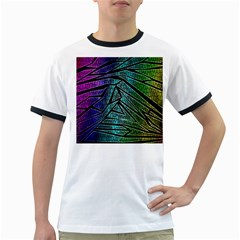 Abstract Background Rainbow Metal Ringer T-Shirts