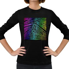 Abstract Background Rainbow Metal Women s Long Sleeve Dark T-Shirts