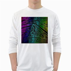 Abstract Background Rainbow Metal White Long Sleeve T-Shirts