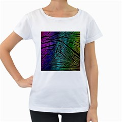 Abstract Background Rainbow Metal Women s Loose-Fit T-Shirt (White)