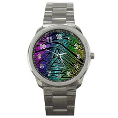 Abstract Background Rainbow Metal Sport Metal Watch