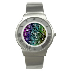 Abstract Background Rainbow Metal Stainless Steel Watch