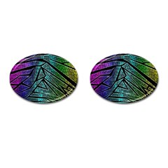 Abstract Background Rainbow Metal Cufflinks (Oval)